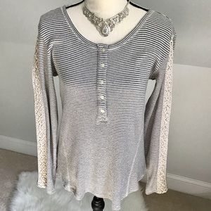 🌹Sonoma Crochet Lace Striped Thermal Top Large